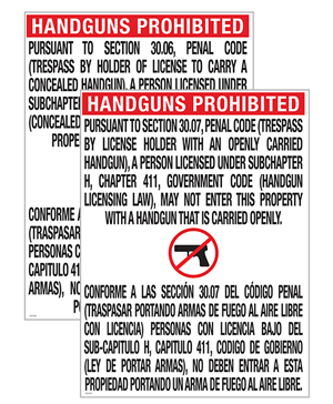Texas Open Carry Signs